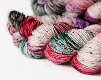 NAUGHTY 231 yards/ Tweed DK Yarn/ superwash merino 4 ply speckle dyed
