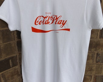 Coldplay Funny Fan T-Shirt Coca Cola Style Adult Tee Band T-Shirt Men's Women's Top Sizes S to XXL