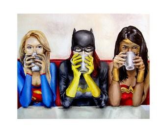 Super Women Need Coffee - Supergirl, Batgirl, Wonder Woman Superhero Art Print (Unframed)