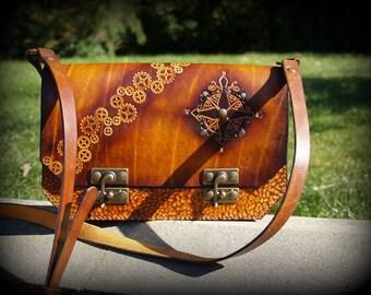 Steampunk leather large handbag model