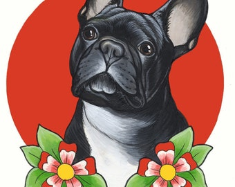 Acrylic Drawing of French Bulldog, A4 size ( 8.3 x 11.7 inches), framed
