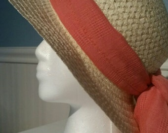 Sun hat with hat scarf peach beach hat garden hat Easter Bonnet Free Ship in US gift for her woven hat straw ribbon fashion accessory