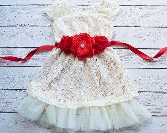 Girls Christmas Dress dress, Red Flower Girl Dress, Champagne Lace Dress, Christmas dress, Rustic Flower Girl Dress, Flower Girl Dresses