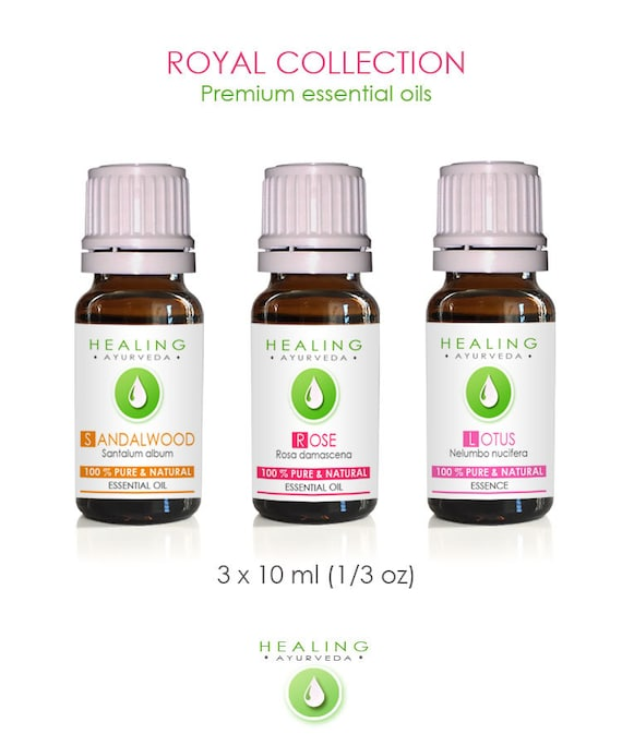 Essential oils set, Aromatherapy essential oils, Rose Otto, Sandalwood oil & Sacred Pink Lotus, Healing Essential Oils Royal Collection