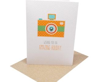 Card for Holiday | Bon Voyage Card | Orange Camera | Travel Card | Farewell Card | Traveling Card | Holiday Card | Goodbye Card | BON010