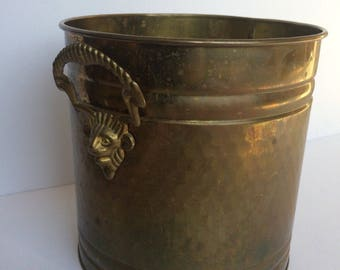 "Vintage Hammered Brass Pot Planter Lion Head Ringed Handles 8"" Tall"