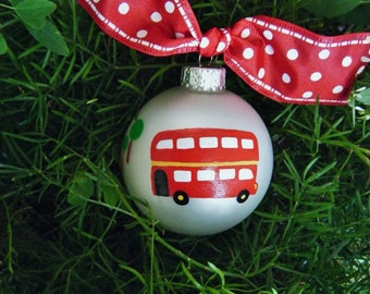 London, England, Double Decker Bus Ornament - London Bus - Vacation Ornament - Personalized Hand Painted Christmas Ornament, United Kingdom