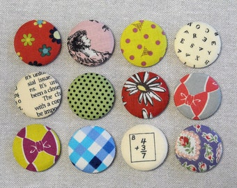 Fabric Button Magnets - Set of 12 - Feedsack and Novelty Prints 1