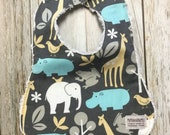 Gender Neutral Bib in Zoo Animals Fabric - Baby Shower ...