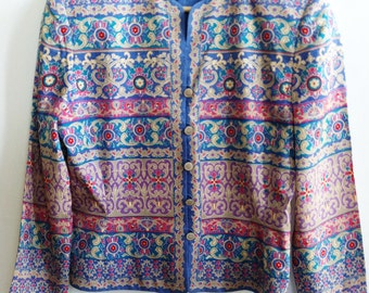 Vintage 1990s Silk Jacket / Mix print / Adriana Papell / Size 10P