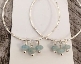 Aquamarine Sterling Hoops