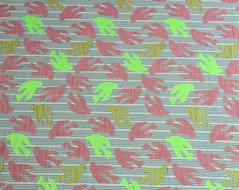 Jacquard with unique Bird Pattern, Pink and Chartreuse, Made in France, 2 1/4 yard piece