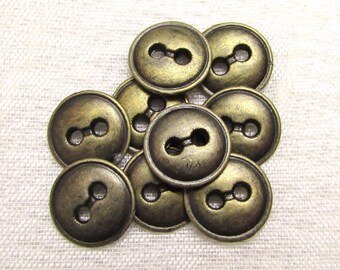 """Simply Sturdy: 1/2"""" (13mm) Antiqued Brass Metal Buttons - Set of 9 New / Unused Matching Buttons"""