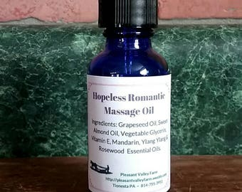 Hopeless Romantic Couples Massage Oil. A Sensual Blend  with Rosewood, Ylang Ylang & Mandarin Essential Oils. 1 oz glass dropper bottle
