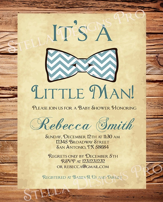 Baby Shower Invitations Wording For Boys: Items Similar To Little Man Baby Shower Invitation Boy