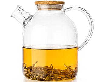 Tealyra - Glass Kettle 60-ounce - Stove-top Safe - Heat Resistant Borosilicate - Pitcher - Carafe - Teapot - Bamboo Lid - Filter Spout