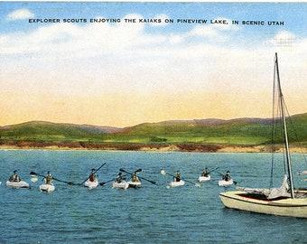 Ogden Valley Pineview Lake Utah Explorer Scouts in Kaiaks Vintage Postcard 1948