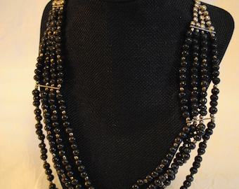 Black bead multi strand statement necklace unmarked 21 1/2""