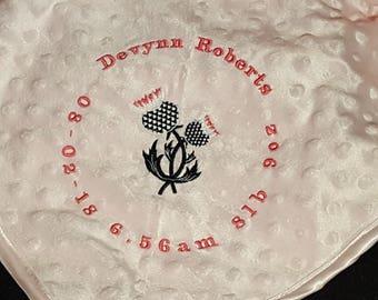 Personalised Scottish New Baby Blanket, Thistle, Scotland,