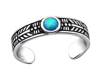 Sterling Silver Opal Toe Ring