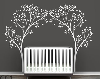 Tree Canopy Portal Wall Sticker Two Symmetrical Tree Decals in one Classic Design by LittleLion Studio