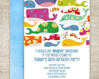BOY BIRTHDAY PARTY Invitations Whale Pool Party Digital diy Printable Personalized - 94551234