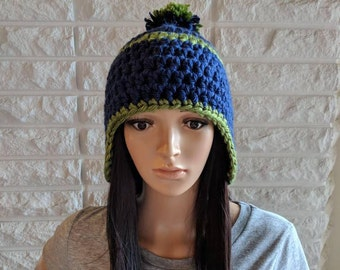 Clearance women's earflap hat, Seahawks winter pom beanie, accessories, gifts for her, fall, winter and spring fashion