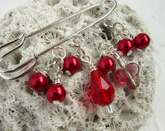 Red Scarf Pin - Sweater Pin - Scarf Brooch - Red Pearl Brooch - Beaded Brooch