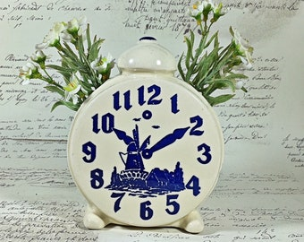 vintage pottery dutch windmill clock face tooth brush holder planter blue cream container