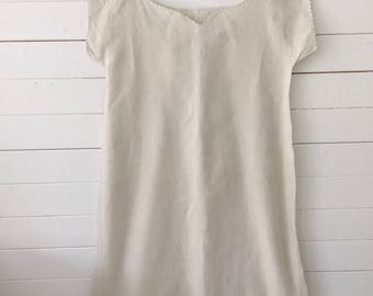 Natural Traditional Linen Ladies Shirt Vintage French night Shirt Large Size