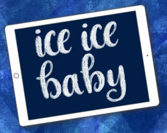 Ice Ice Baby lettering brush for Procreate app