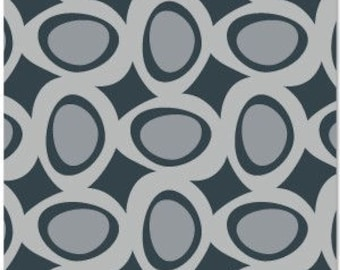 Sale! 7 Remnants River Rock  Organic Daisy Janie Shades of Grey Fabric OOP Out of Print - sizes of the pieces in the description below