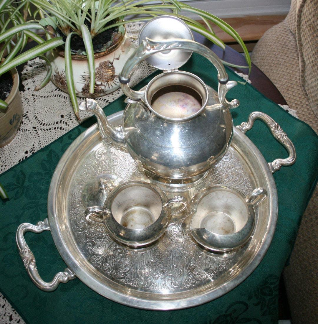 Top 20 Tea Platters: Vintage Sheridan Silver Co. Silverplate Tea Set 1945