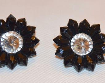 Vintage large burst black and crystal earrings