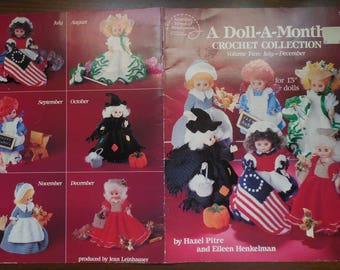 A Doll A Month Crochet Collection Volume Two July-December American School of Needlework Leaflet #1082 1990 13 inch dolls pattern