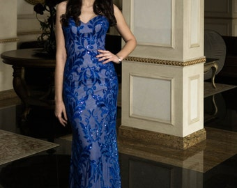 Royal Blue evening gown with flowers, Long romantic dress, Long evening dress in blue, Long formal dress, Special occasion women dresses