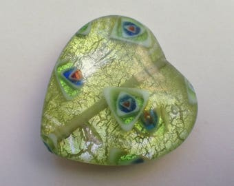 2 green with silver glass lampwork beads handmade millefiori /90/ 26 mm