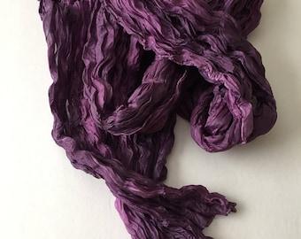 Purple Silk Scarf Hand Dyed Shawl Wrap OOAK