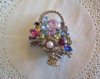 Jeweled Magnet (779) - Rhinestone Refrigerator Magnet - vintage jewelry - repurposed jewelry - flower basket