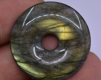 U2237  Golden Labradorite donut gemstone pendant focal bead 30mm