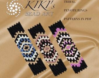 Pattern, peyote ring patterns Tribal rings - peyote ring pattern set of 3, patterns in PDF - instant download