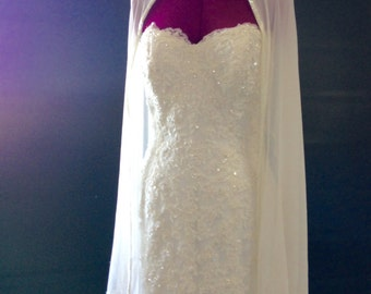 Haute Couture Crepe and Swarovski Crystal Handbeaded Off-White Bridal Wrap