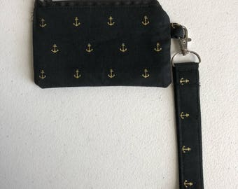 Black with gold anchors small zippered pouch