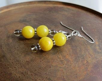 yellow agate earrings. DOUBLE TROUBLE. sterling silver earrings. smoky quartz earrings. natural stones. outdoor earrings. sunshine yellow.