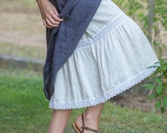 Linen Skirt Laced/ Linen Maxi/Linen  Underskirt/Linen Petticoat/Linen Half Slip/ Linen Underwear