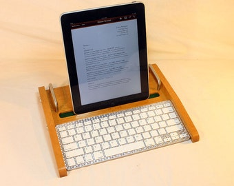 iPad Workstation - Keyboard - Tablet  Dock  - Golden Oak -  iPad, IPhone, Tablet Bluetooth Keyboard Computer Desktop Workstation