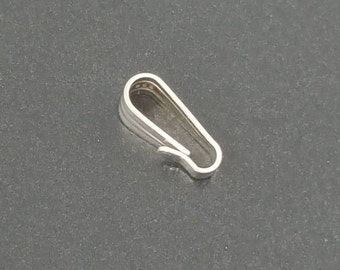Sterling Silver Snap On Bails, jewelry findings,bails, mgsupply, necklace findings, necklace components, pendant bail, 925 bail, snap on