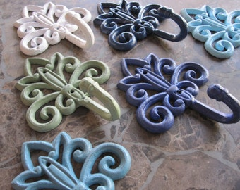 Hook/ Wall Decor hook/ cottage chic wall hook nursery decor/ coat hook french country/ nursery room/ entry way cast iron