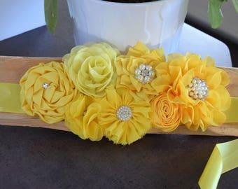 Yellow Maternity Belly Sash, Yellow Gender reveal Baby Shower, Yellow Maternity Sash Belt, Custom Belly Sash