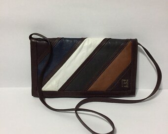 Leather Shoulder Purse - Multicolor Leather - Brown Leather